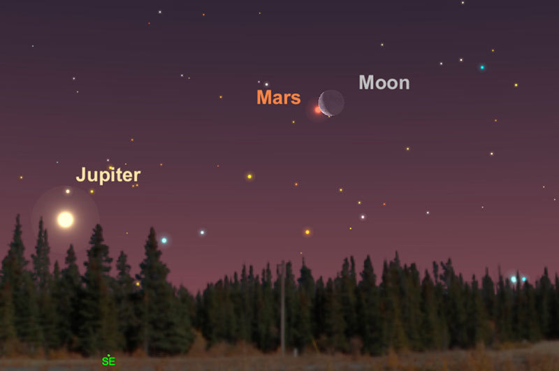 Looking in the early morning sky at the moon pairing with Mars.