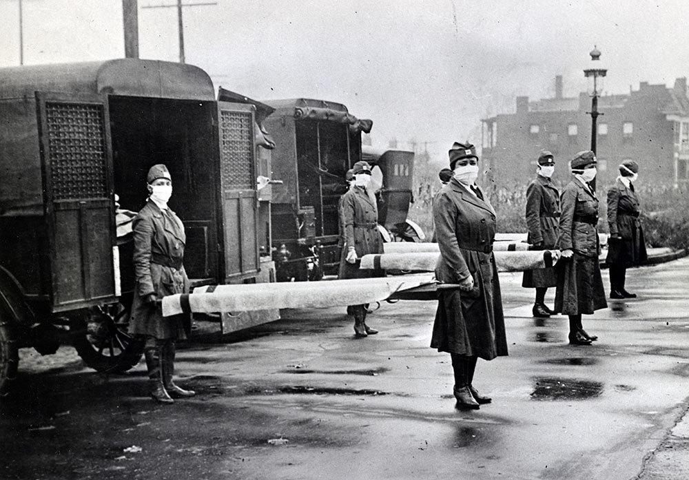 The Red Cross motor pool on duty in St, Louis, 1918