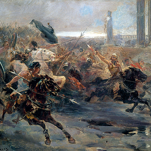 Ulpiano Checa's 1887 work represents the rampaging Hund on horseback as an overwhelming force.