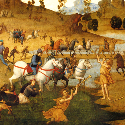Suetonius tells of a miraculous event that occurred as Caesar mulled over crossing the Rubicon, depicted in this 1494 painting by Francesco Granacci.